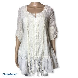 CREAM-CLOTHING ivory crochet lace button top
